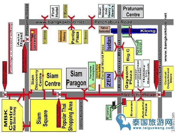 曼谷siam购物中心俯视地图