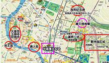 曼谷市区主要景点和交通手绘中文地图