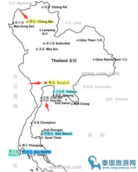 曼谷,清迈,华欣地图