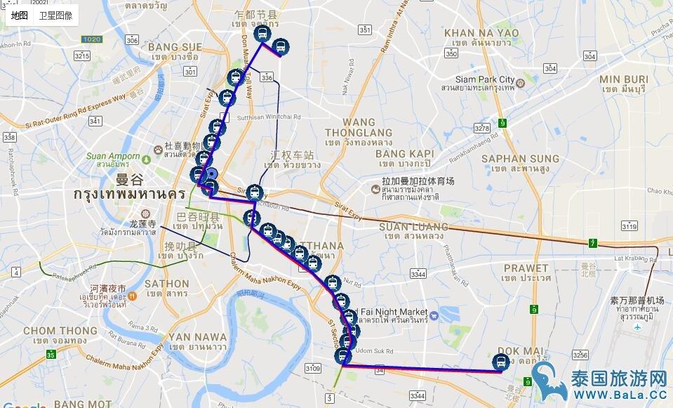 曼谷38路公交车站点名称和路线图(可到曼谷