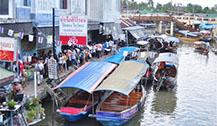 曼谷附近的本地水上市场-Amphawa水上市场