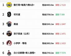 2019快手粉丝排行榜,散打哥成为快手一哥