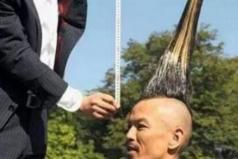 世界上最高的莫希干式发型,高达1.18米